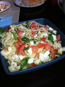 Spaghetti Alla Caprese and Parmesan Fish Sticks (Great for Kids!)