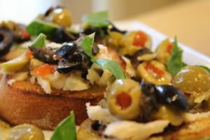Green Olive, Goat Cheese & Basil Crostini