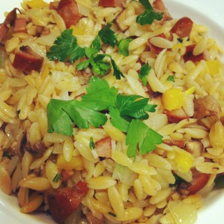 Orzo with Sausage, Bell Peppers & Tomatoes