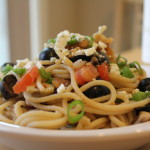 Spaghetti with Tomatoes, Black Olives & Blue Cheese