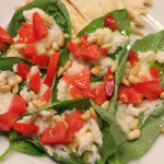 Basil Leaves Topped with Chèvre and Pine Nuts