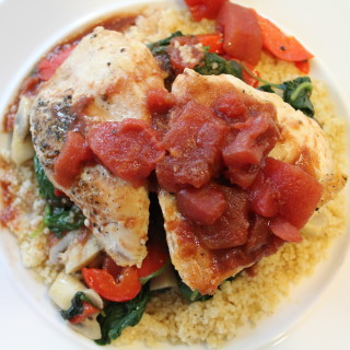 Balsamic Chicken with Spinach, Mushrooms & Couscous