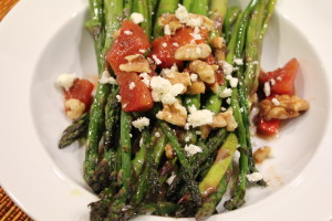 Balsamic Asparagus with Feta Cheese & Toasted Walnuts