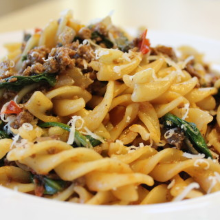 Fusilli Pasta with Spinach, Tomatoes and Mushrooms (Take 2)