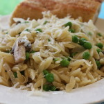 Summer Orzo with Peas and Mushrooms