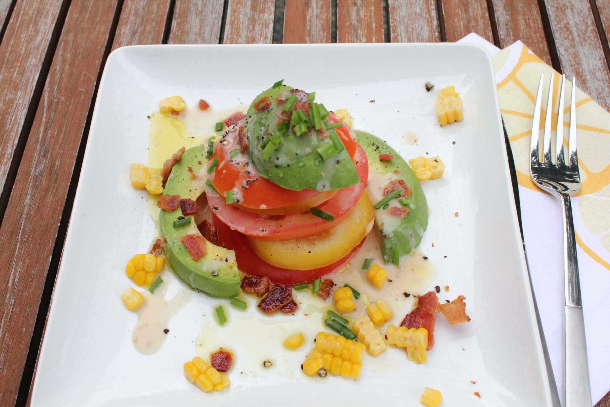 Tomato Tower Salad with Corn, Avocado & Bacon - Hip Foodie Mom