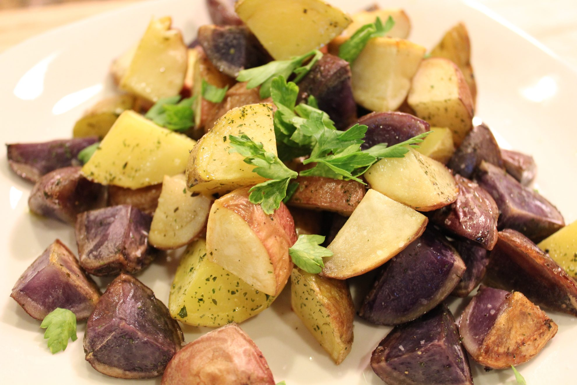 Roasted potatoes. Love the purple ones! So pretty!