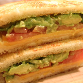 Stacked Grilled Cheese Sandwich with Guacamole