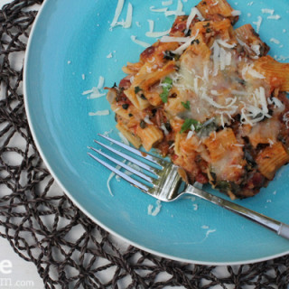 Baked Mezzi Rigatoni with Pork, Kale and Mushrooms
