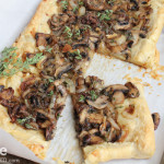 Caramelized Onion, Mushroom and Thyme Tart using puff pastry! So easy to make and delicious! This is great for appetizers, or a main!