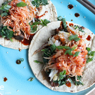 Bibimbap Tacos with Slow Cooked Asian Pulled Pork.