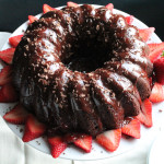Chocolate Bundt Cake with Balsamic Strawberry Sauce for #Bundtamonth