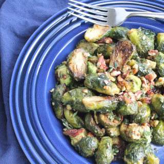 Roasted Brussels Sprouts with Toasted Pecans and Avocado.