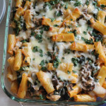 Broccoli Rabe, Mushroom and Kale Pasta Casserole with Fontal.