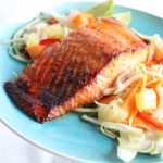 Broiled Salmon with Sweet and Spicy Pineapple Slaw