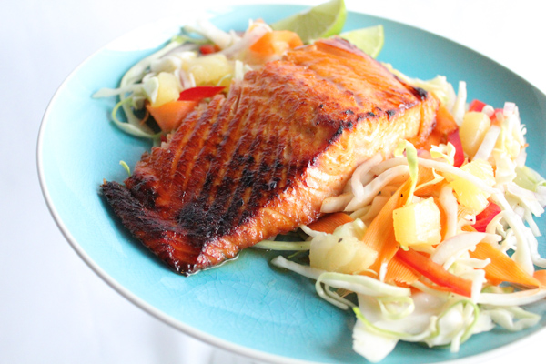 Broiled Salmon with Sweet and Spicy Pineapple Slaw - Hip Foodie Mom