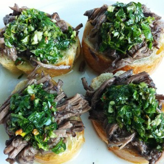 Little Toasts with Braised Beef and Chimichurri Sauce