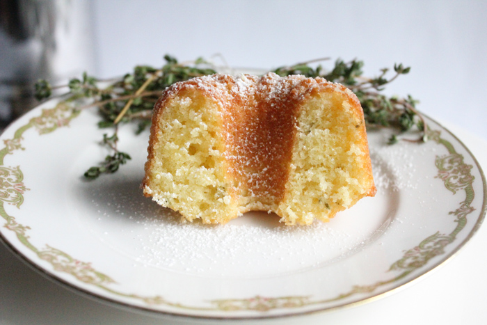 Olive Oil Thyme Mini Bundt Cakes! Subtle and delicate flavor and oh so good! If you're never baked with olive oil, or made an olive oil cake, you need to try this recipe!