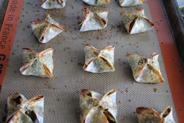 Baked Veggie Wontons out of oven | HipFoodieMom.com