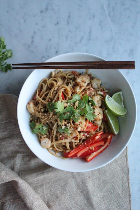 Spicy Peanut Noodles with Shrimp vertical2 | HipFoodieMom.com