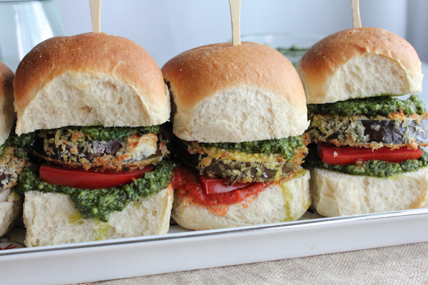 Eggplant Sliders with Arugula Pesto_closeup | HipFoodieMom.com