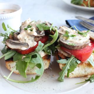 Mushroom, Arugula and Tomato Toast with Rémoulade