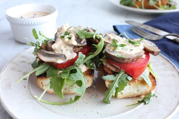 Mushroom_Lettuce_Tomato Toast with Rémoulade | HipFoodieMom.com