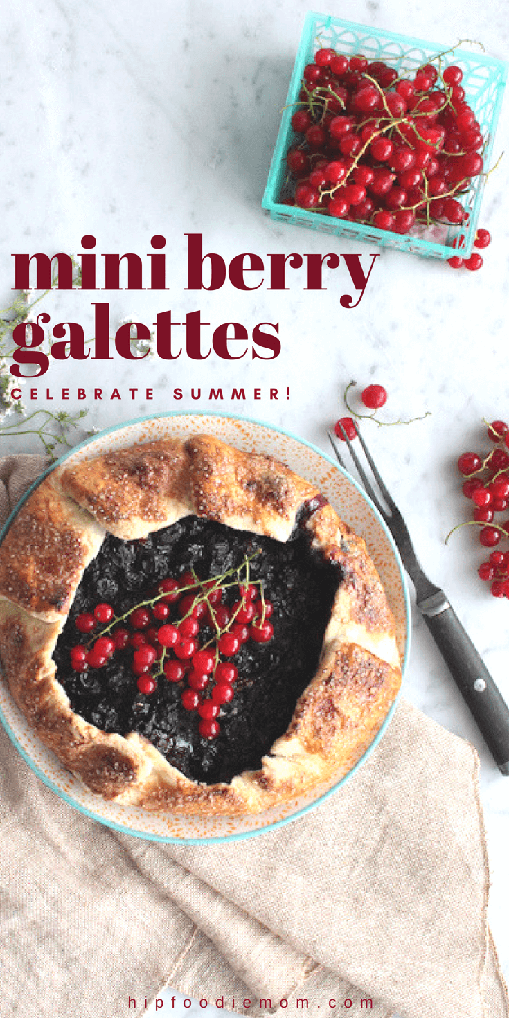 Celebrating Summer with Mini Berry Galettes!!! Blueberries, strawberries, lemon zest, nutmeg, cinnamon and sea salt all blended together and wrapped in a homemade pastry dough. This berry galette is unforgettable! #berries #galette #baking #berrypie #summerdessert #summergalette #fruit #fruitdessert #dessert #easydessert