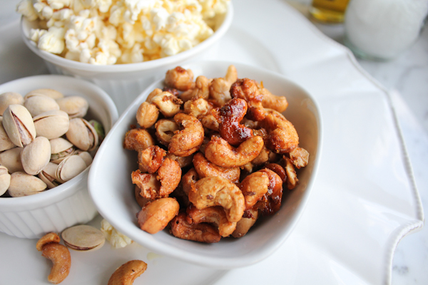 Orange Spiced Cashews plate | HipFoodieMom.com