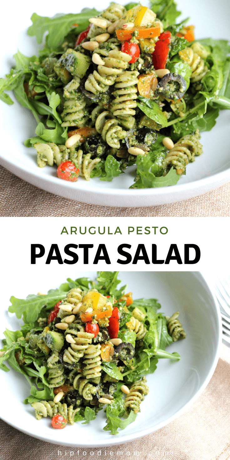 This easy and delicious Pesto Pasta Salad combines arugula pesto with fresh veggies and pasta! #pestopastasalad #arugulapesto #pesto #pastasalad #pasta #dinner #lunch #potluck #bbq #vegetarian