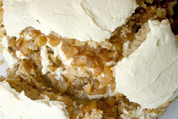 Apple Spice Layer Cake with cream cheese and apple pie filling! Enjoy all the flavors of fall!
