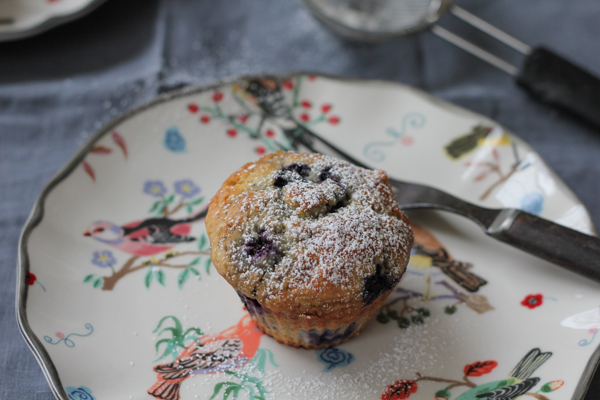 Lemon Blueberry Muffins on plate | HipFoodieMom.com