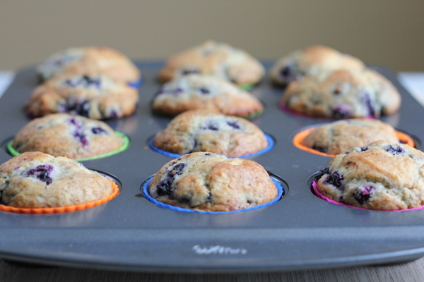 Lemon Blueberry Muffins out of oven | HipFoodieMom.com
