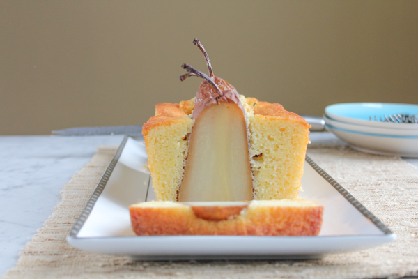 Poached Pear Olive Oil Bread_firstslice | HipFoodieMom.com