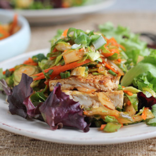 Sesame Tofu Salad with Brussels Sprouts Slaw