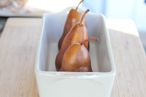 setting pears in baking dish