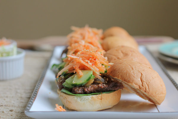 Bulgogi Sliders! A delicious and fun way to enjoy Korean marinated beef! Make these for your family or for a party, these are amazing!
