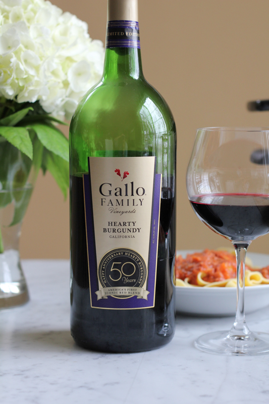 Gallo Heart Burgundy with pasta
