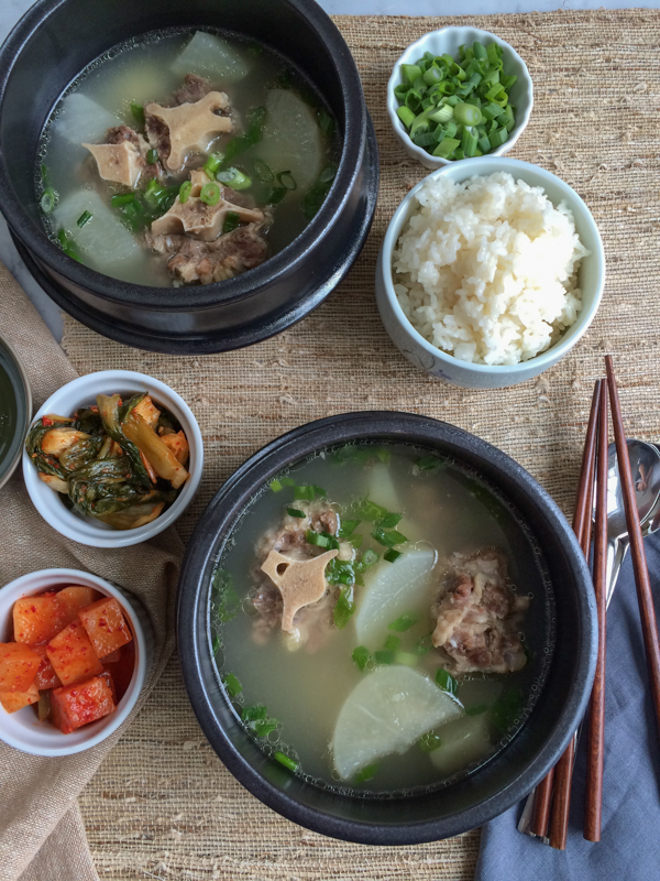 Korean Oxtail soup kkori gomtang - two bowls