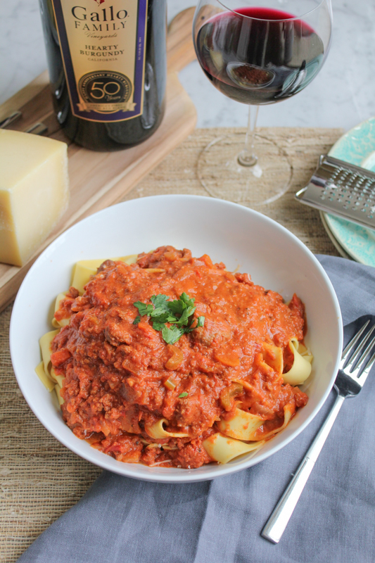 Rich, flavorful and delicious Slow Cooker Bolognese Sauce with Pappardelle! Your slow cooker does all the work!