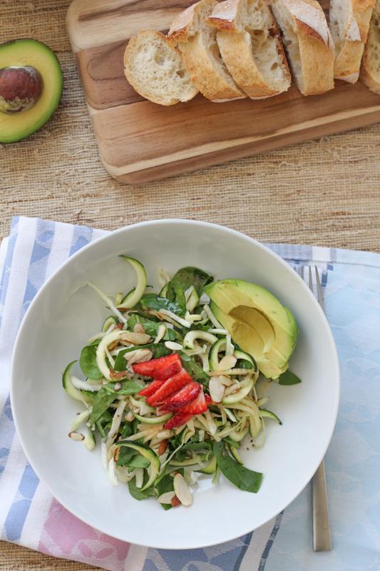 Apple Spinach Zucchini Salad_vert_with bread | HipFoodieMom.com