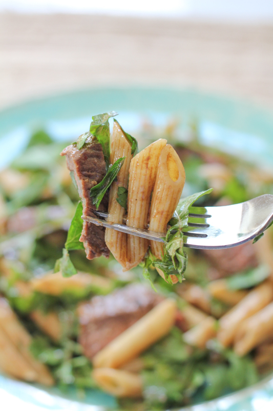 Penne Salad with Beef and Arugula_bite | HipFoodieMom.com