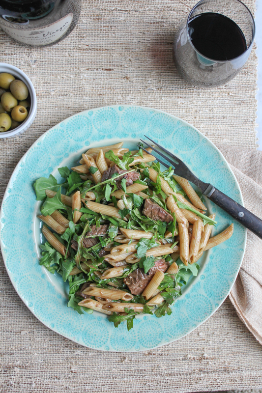 Penne Salad with Beef and Arugula_layout | HipFoodieMom.com