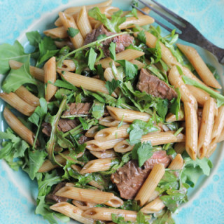 Penne Pasta Salad with Steak, Dijon and Arugula
