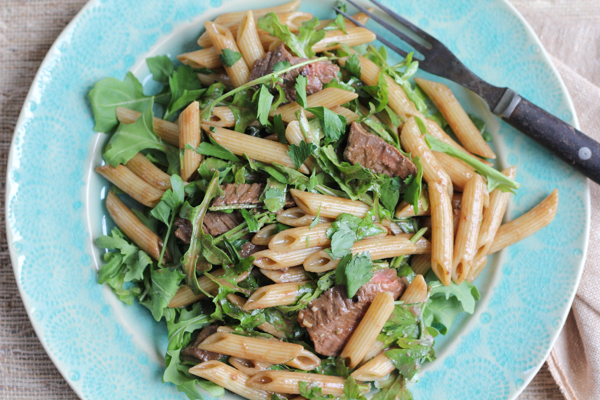 Penne Salad with Beef and Arugula_main | HipFoodieMom.com