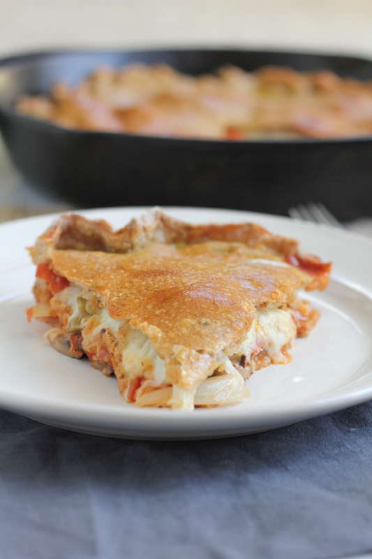Pepperoni Pizza Pot Pie! Loaded with pepperoni and mozzarella cheese, this Pepperoni Pizza Pot Pie is sure to please any meat lover! Pizza tastes better in pie form!!