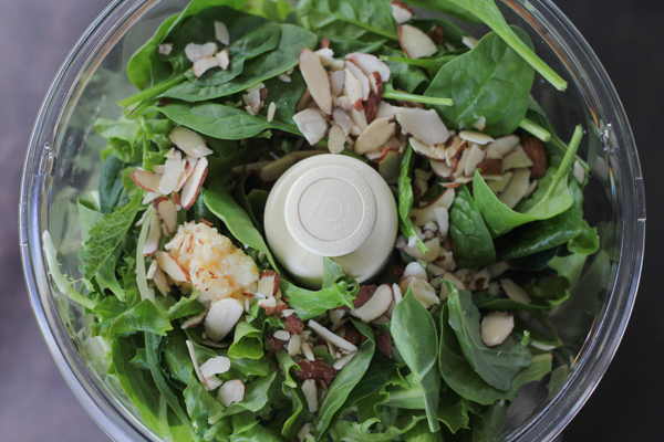 spinach in food processor