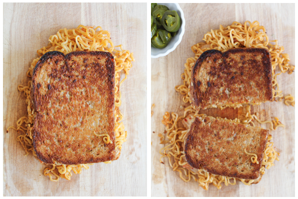 Kimchi Ramen Grilled Cheese side by side
