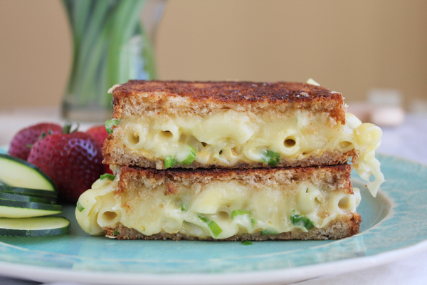 Macaroni and Cheese Grilled Cheese, with Emmentaler and Gruyère cheese!!! SO good!!!