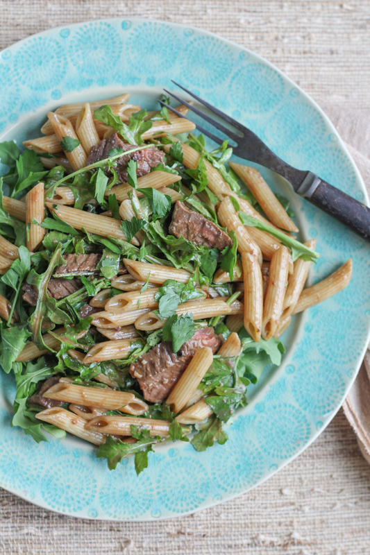 Penne Salad with Beef and Arugula_vert_dish | HipFoodieMom.com